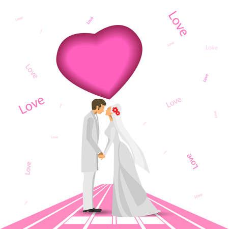 Wedding couple illustration. Wedding couple isolated pink on road background.