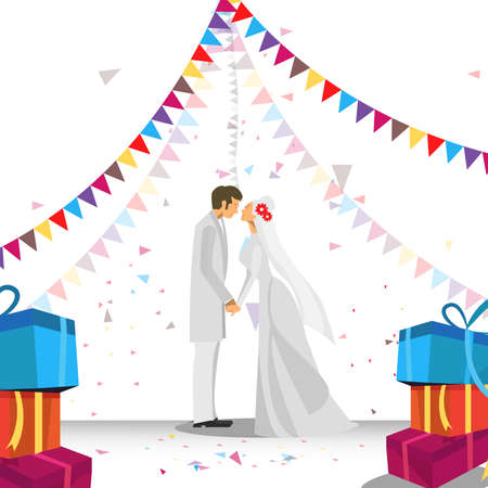 Wedding couple illustration. Wedding couple isolated on party background.
