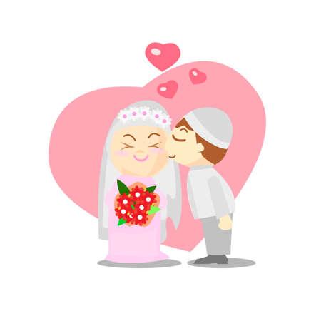 Wedding couple illustration. Wedding couple isolated on heart background. Ilustrace