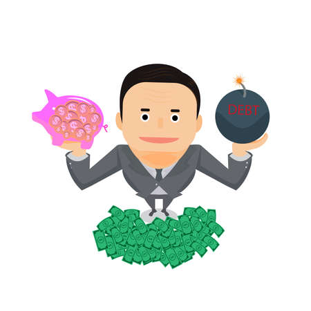 Illustrator Business man holding debt with coins in pink pig.