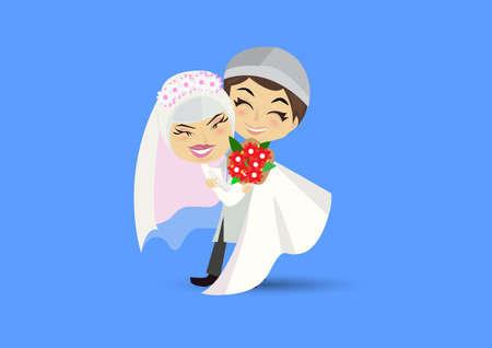 Muslim Wedding couple isolated on heart background.