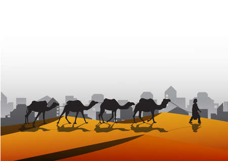 Silhouettes of camels at sunset.