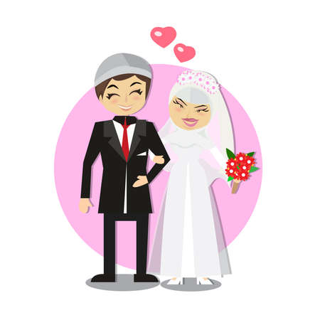 Muslim Wedding couple isolated on heart background Ilustrace