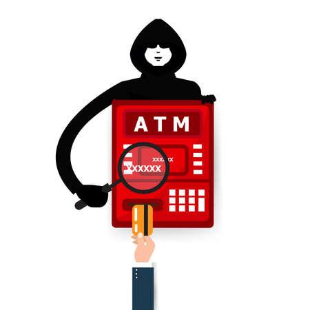 Thief. Hacker stealing sensitive password from ATM machine. Phishing, ATM skimming. Cartoon Illustration.