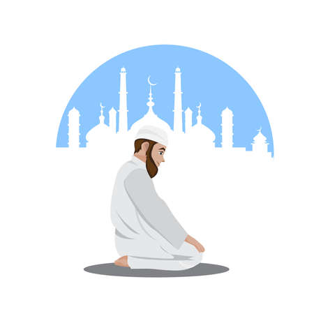 Young muslim man praying isolated over mosque background