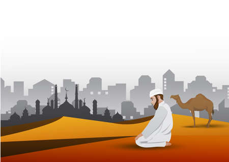 Man praying and camel with sands background