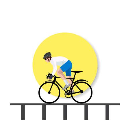 Bike bicycle riders in bridge background illustration