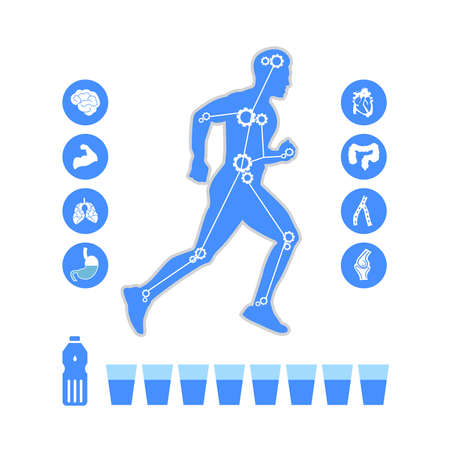 Running and icon infographics health concept in flat style