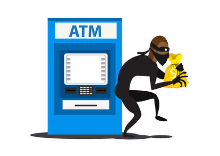 flat illustration thief steals money from ATM, blue cash machines, in black suit, robber in mask. Criminal person Ilustrace