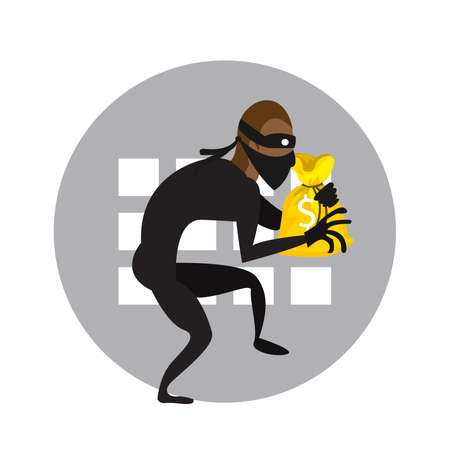 A vector illustration of a thief, or a robber, or a burglar trying to escape with a money bag.