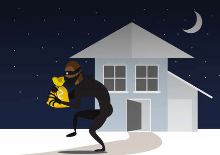 Thief out the door with a bag. After breaking into a house. Illustration