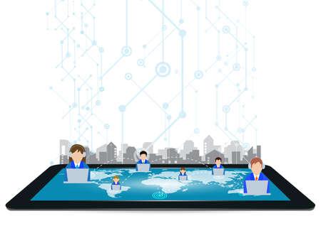 Global people network on Tablet Screen for communication Concept,Illustration Ilustrace