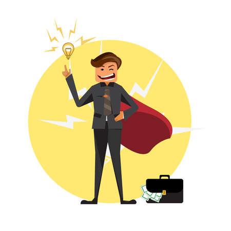 Hero businessman positive thinking vector illustration.