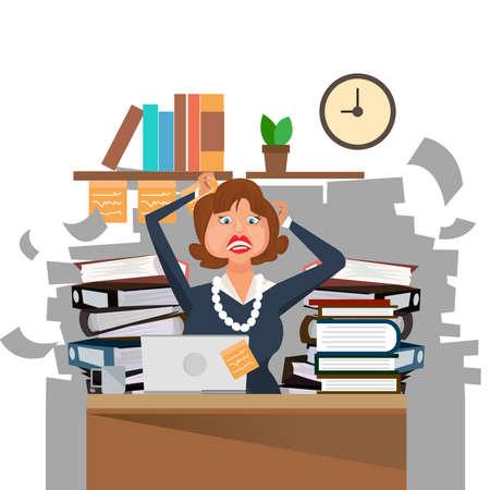 Mujer de negocios muy ocupada trabajando duro en su escritorio en la oficina con mucho papeleo