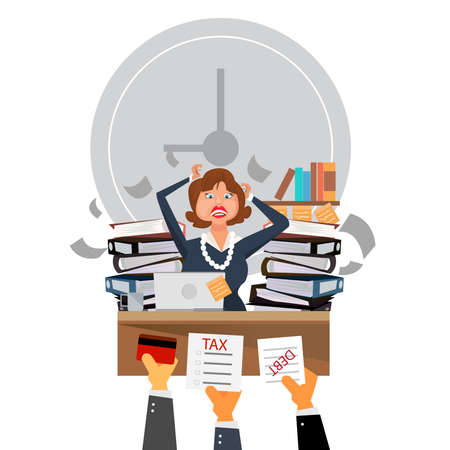 Very busy business woman working hard on her desk in office with a lot of paper work