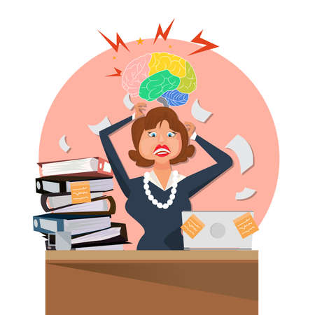 woman  stressed  with a lot of paper work Vector illustration.