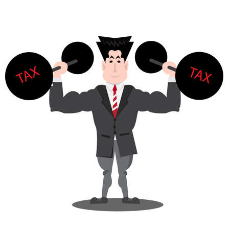 Businessman lifting heavy weight debt with tax Vector illustration.