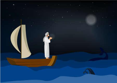 Arabic man praying on sailboat ocean background illustrator.