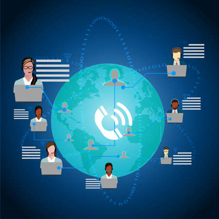 Call Center Operators Team, Man Woman Customer Support People Group Chat Bubble Internet Communication Thin Line Illustration