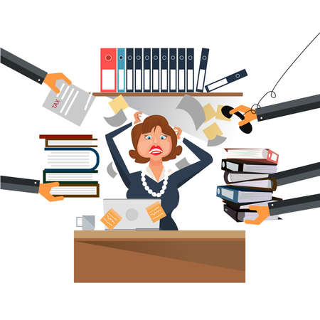 Very busy business woman working hard on her desk in office with a lot of paper work Vector illustration. Ilustração