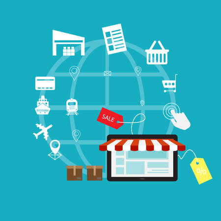E-commerce electronic business concept with online shopping icons. Vector illustration. Ilustrace