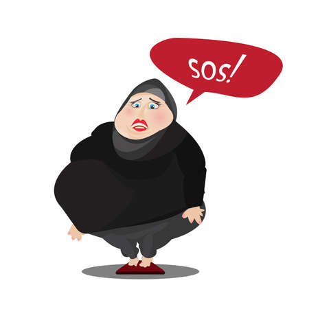 Weight loss. Overweight Muslim woman. Vector illustration