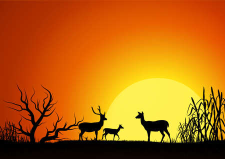 Silhouette of three deer in the garden,on natural background Vettoriali