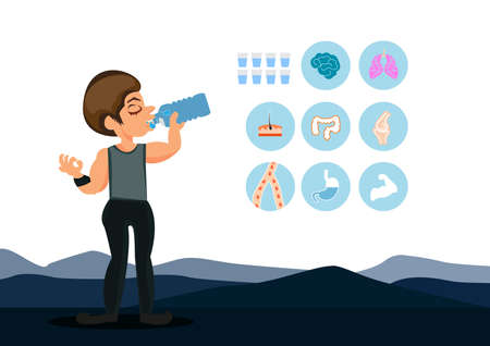 Illustrator children holding water glass to health and icons for healthy. Ilustrace
