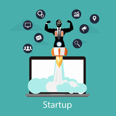 Businessman quick rocket launch on computer, business start up concept illustration.