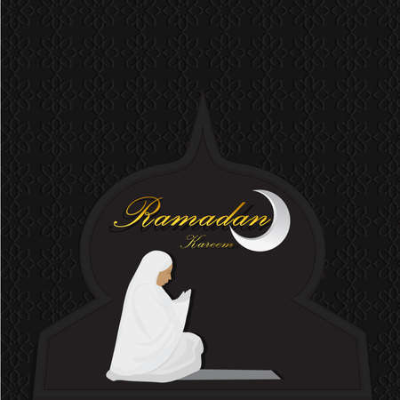 Young muslim woman with hijab praying in black mosque background.illustrator