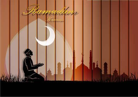 Muslim man sitting on a praying on wood mosque background.