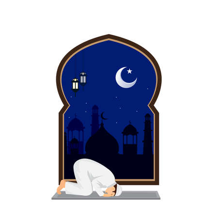 Muslim man prayer at night with mosque background Ilustrace