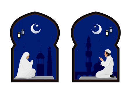 muslim man and woman prayer at night with mosque background.