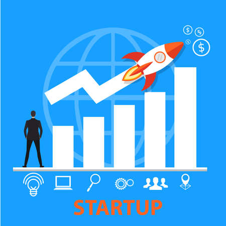 startup business grow concept. icon business. illustration.