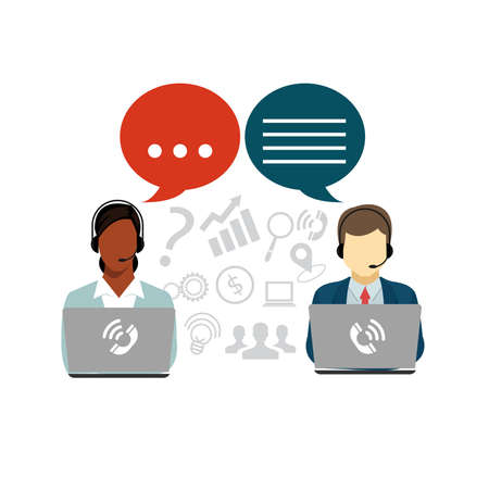 Man with Woman Call Center Operators Customer service Illustration.