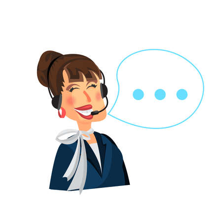 Female call center operator with headset. Flat modern style Vector illustration.