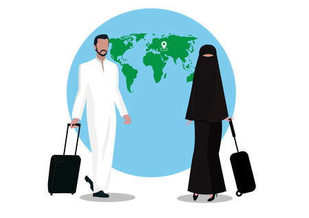 muslim man and woman tourist with luggage on global background Vector illustration.