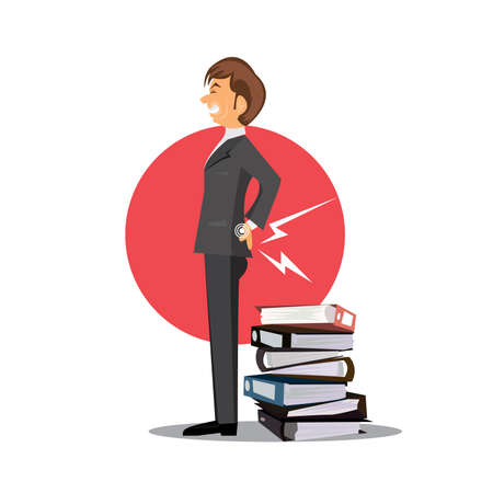 Businessman with back ache icon