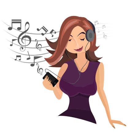 girl happy in headphones with player in hands listening to pop music. Vector illustration. Ilustrace