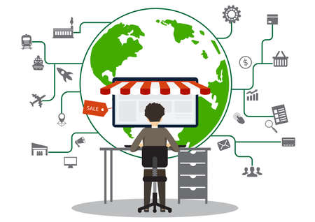 businessman looking laptop and online shop icon on world background