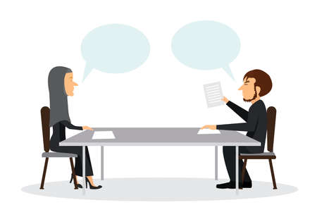 Two business talking conference meeting room. Business management teamwork meeting and consult. Vector illustration.