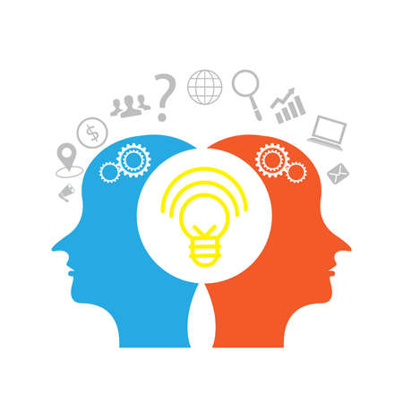 Idea and a shone brain concept business and creative thinking heads of two people. Ilustrace