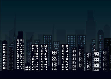 Night cityscape in flat style. Night city skyline abstract background.
