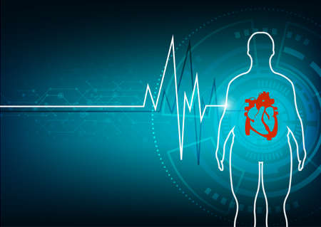 fat people with heart disease abstract background