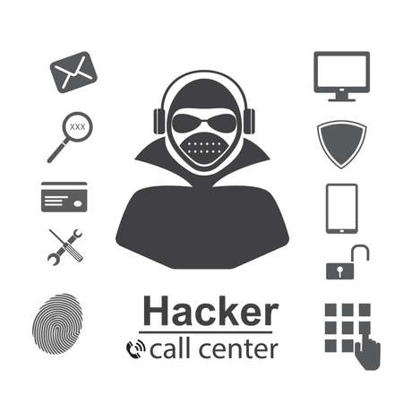Cyber Crime Concept. hacks password,Flat style icons Hacker, Virus, Bug, Spam and Social Engineering. vector illustration