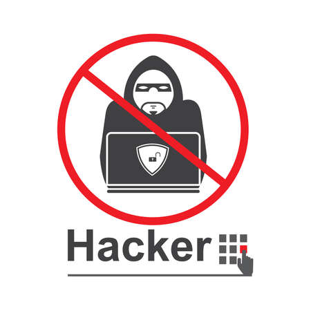 Stop hacker forbidden signal icon on white background. illustration security concept.