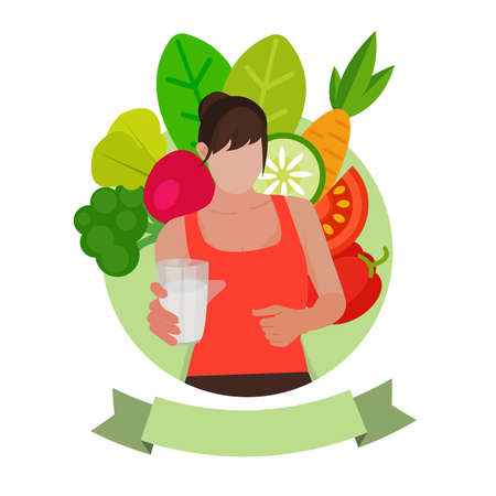 Beauty young woman holding fresh water and fruits background. Healthy eating concept. Diet, dieting, slimming, weight loss.
