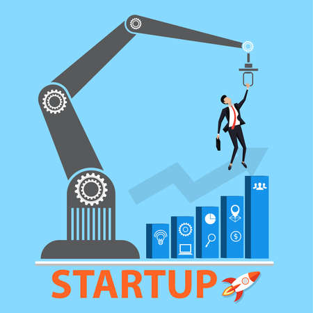 Business startup concept. Managers struggling for growth graph with innovation or startup. Conceptual vector illustration for solution or challenge. Corporate employees competition. Illustration