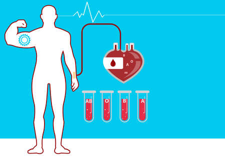 Blood donation day concept with human donates blood illustration in flat style.