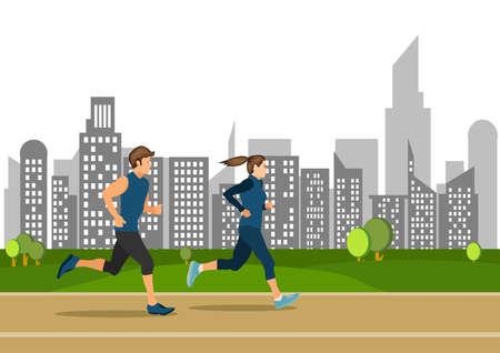 Active young running boy and girl on public street sports illustration.